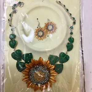 Sunflower Necklace with matching Earrings.